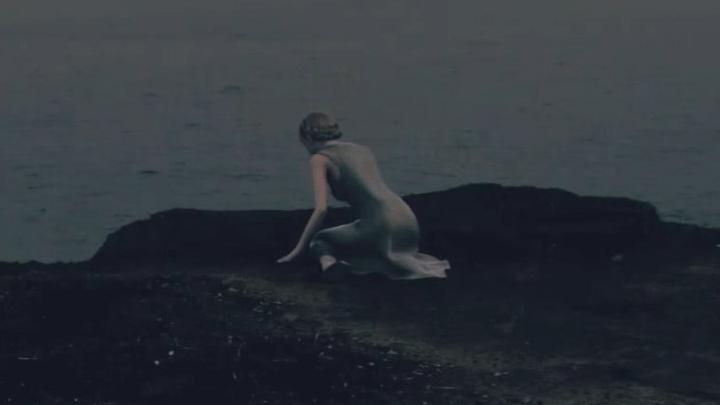 薄暗い海岸に女性が独り[エースコンバット7]
