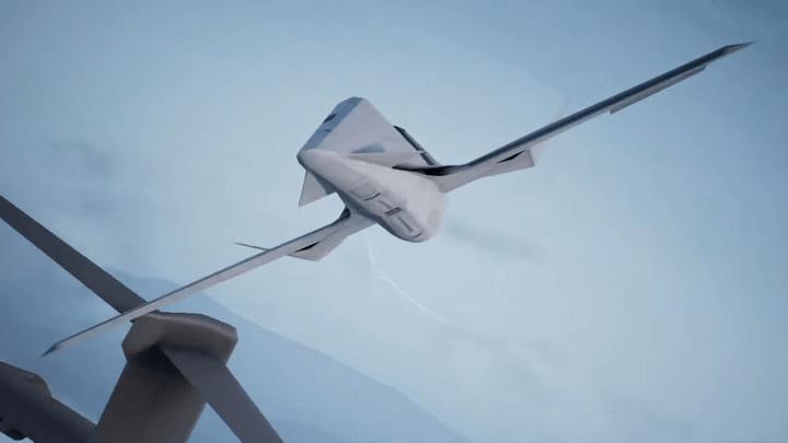 輸送機とすれ違う異形の前進翼機[エースコンバット7]