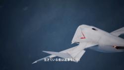 機体を捻らせながらダイブする異形の前進翼機[エースコンバット7]
