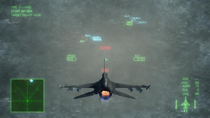 機外視点でアイシングが起きた様子[エースコンバット7]