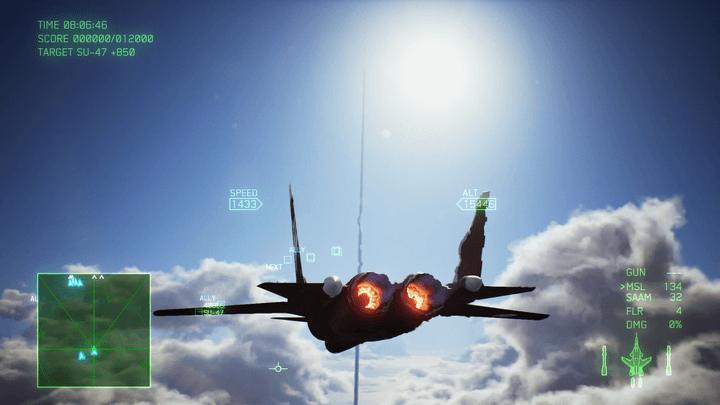 Su-47から軌道エレベーターを見る[エースコンバット7]